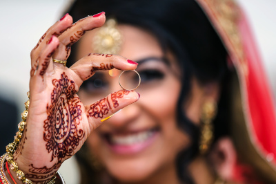 close up of hindu bride and ring